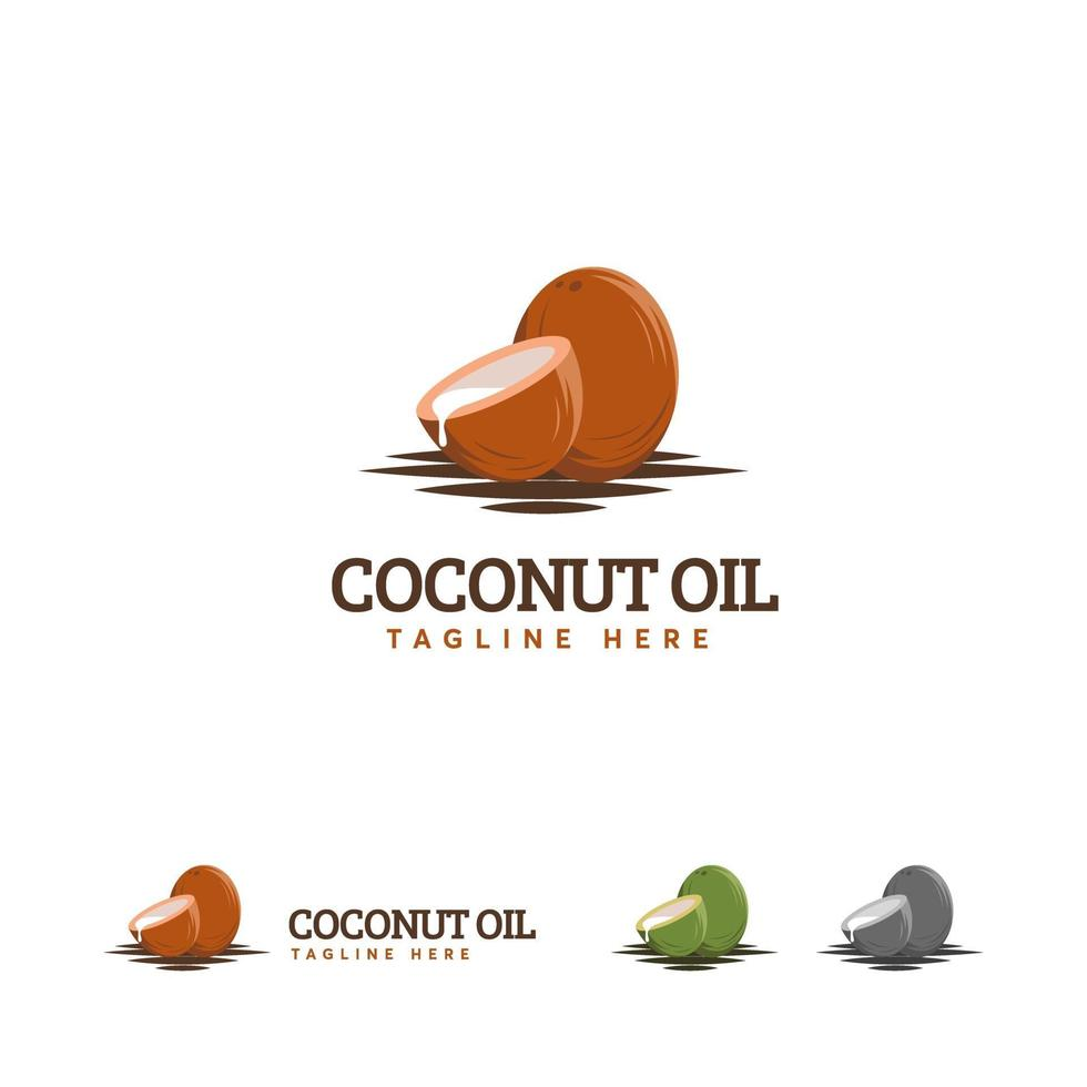 kokosolie logo ontwerpen, bruin kokos logo symbool vector