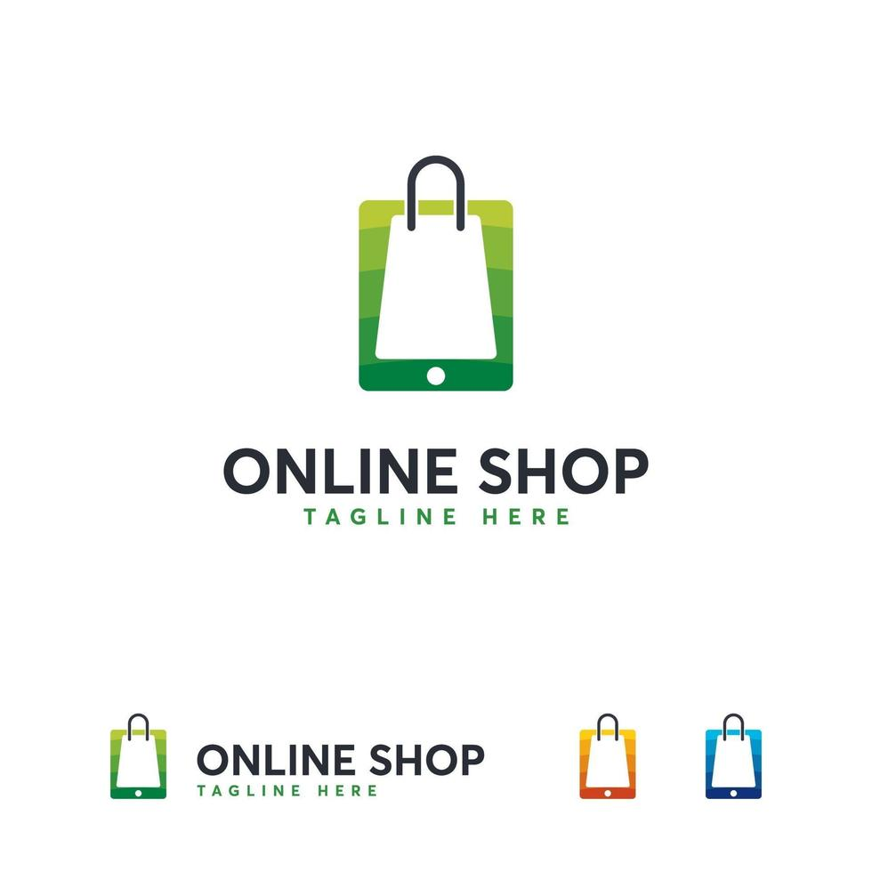 online winkel logo ontwerpen sjabloon, mobiel winkelen logo symbool vector