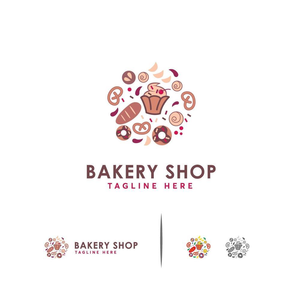 bakkerij winkel logo vector ontwerpsjabloon lineaire stijl, zoet brood en cake logo sjabloon