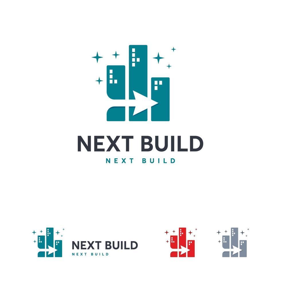 volgende gebouw logo ontwerpen concept vector, onroerend goed logo symbool vector