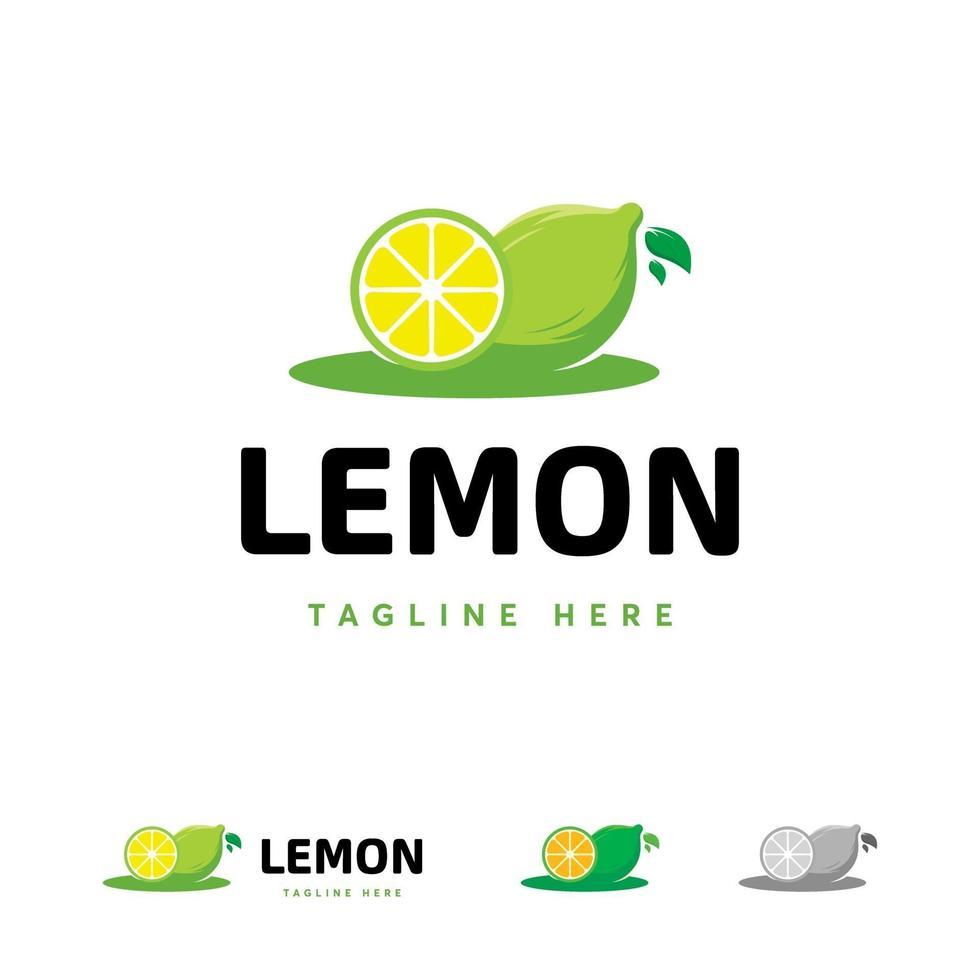 vers citroenfruitlogo tmeplate, citroenschijfje logo-symbool, citroenkalk-symbool vector