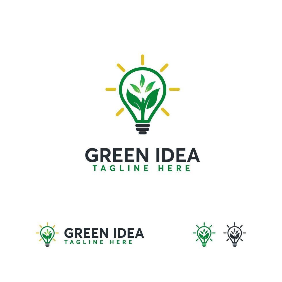 natuur idee logo, vers idee logo sjabloon, natuur inspiratie lamp logo symbool vector