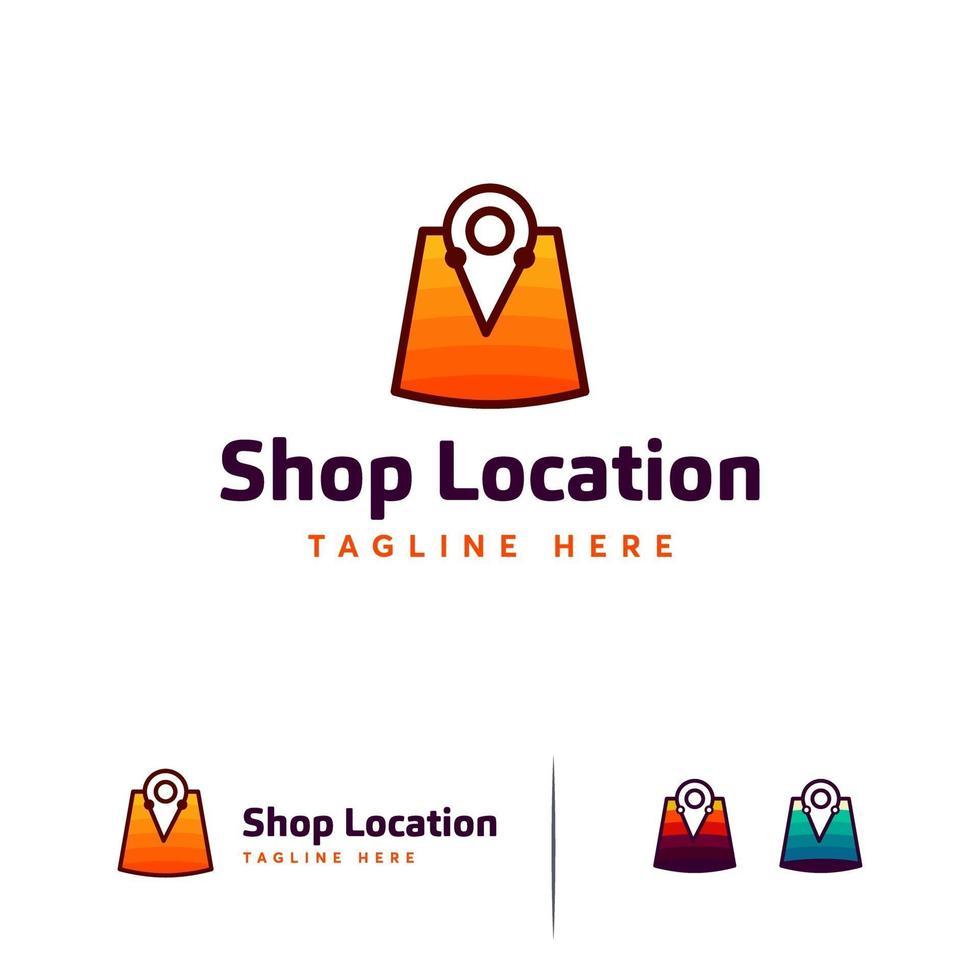 winkel locatie logo ontwerpen, winkel punt logo sjabloon vector