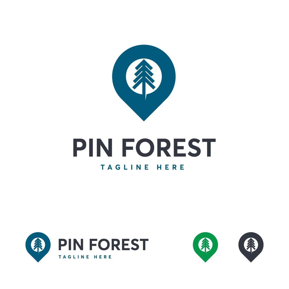pin bos logo ontwerpen, bos reis logo sjabloon vector