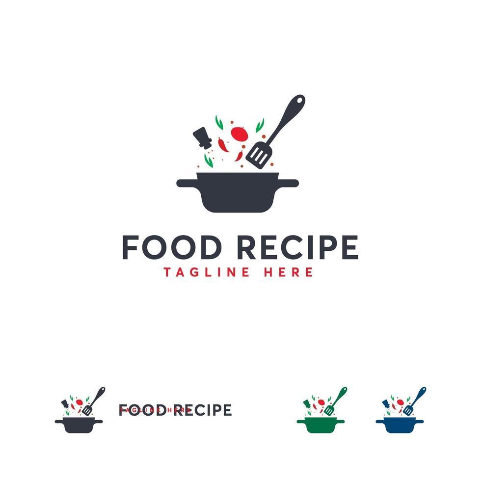 voedsel recept logo ontwerpen concept vector, koken logo ontwerpen sjabloon vector