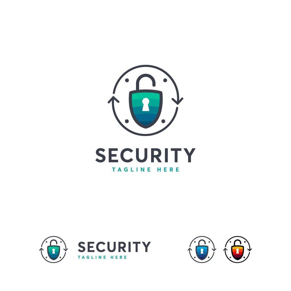 beveiligingslogo ontwerpen vector, vergrendelen veilige logo sjabloon, veilig veilig iconisch logo vector