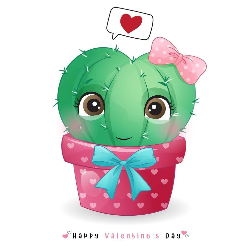 schattige doodle cactus voor Valentijnsdag vector