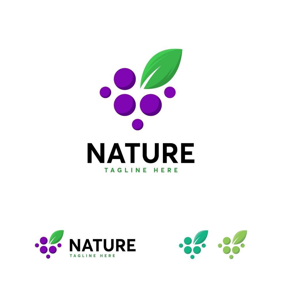 natuur druif logo-ontwerpen, pure druif logo-ontwerpen sjabloon, geweldige druif logo-sjabloon vector