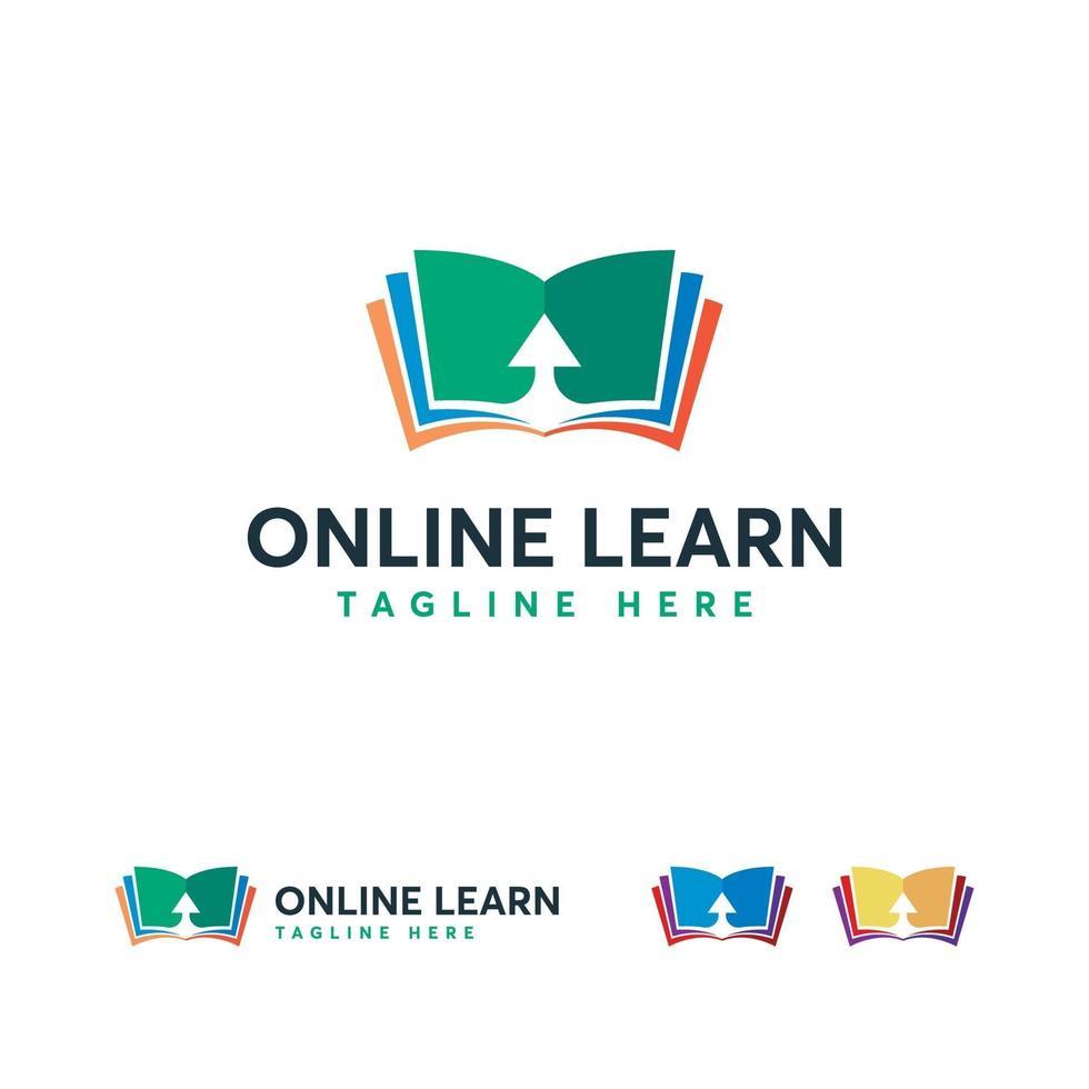 logo voor online leren, online boeksymbool, logosjabloon voor online onderwijs vector