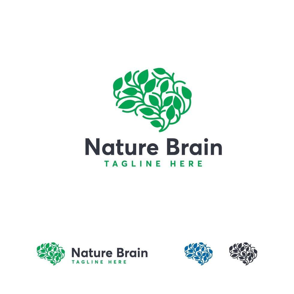 gezondheid hersenen logo ontwerpen concept vector, natuur geest logo sjabloon, onderwijs logo symbool vector