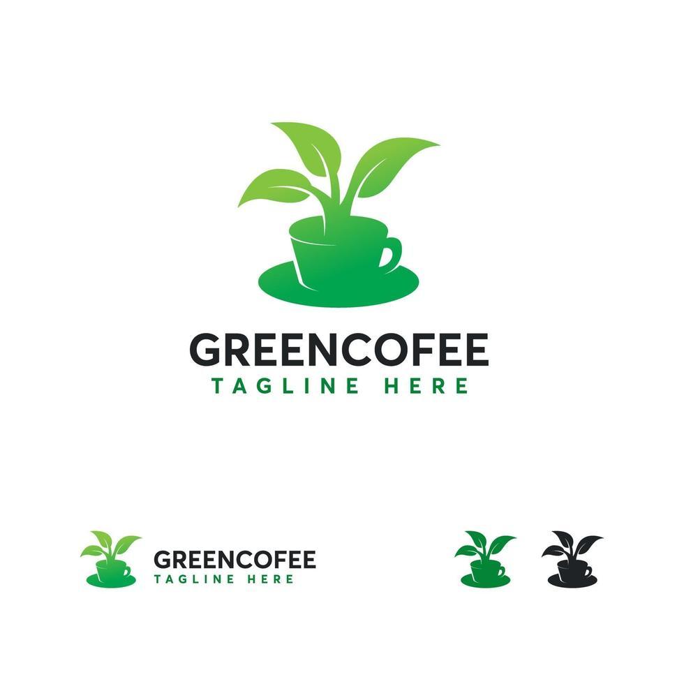 groene thee logo ontwerpen concept vector, warme drank logo sjabloon vector