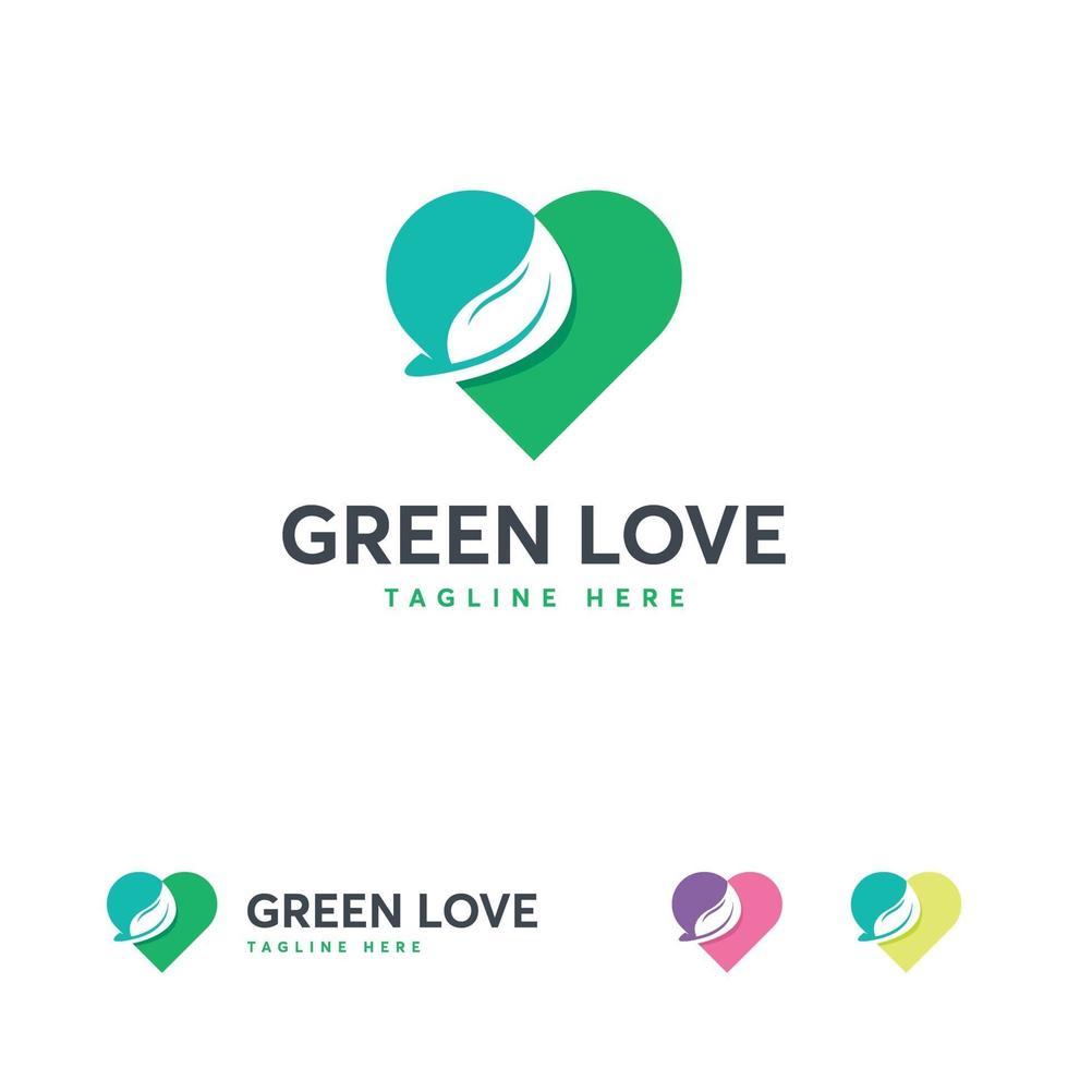 groene liefde logo ontwerpen concept vector, groene liefde logo sjabloon vector