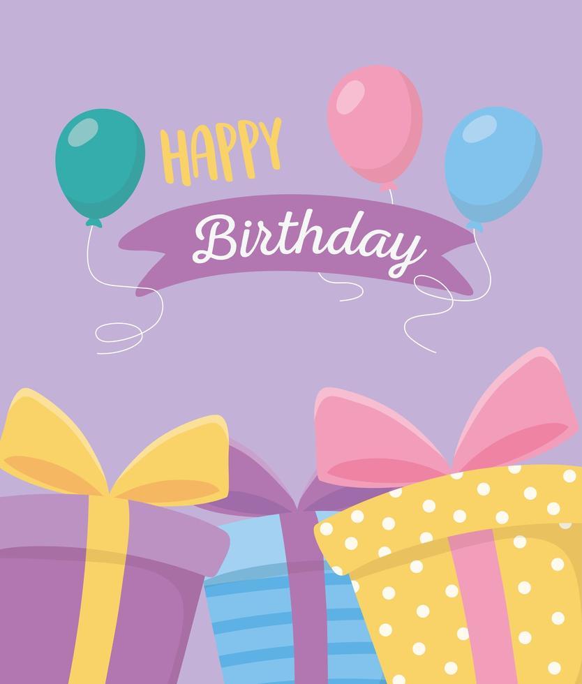gelukkige verjaardag, geschenkdozen en feestkaart met ballondecoratie vector