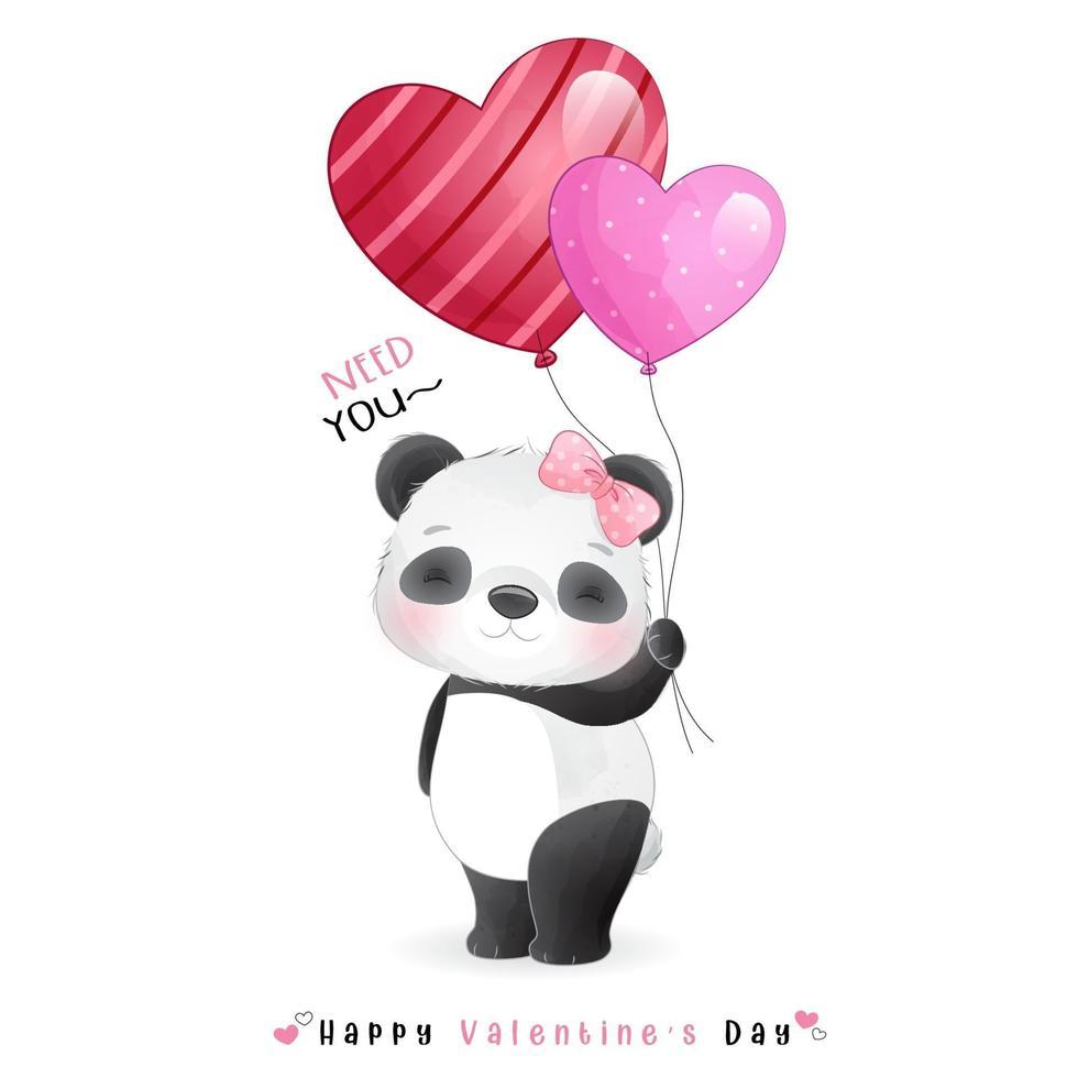 schattige doodle panda voor Valentijnsdag vector