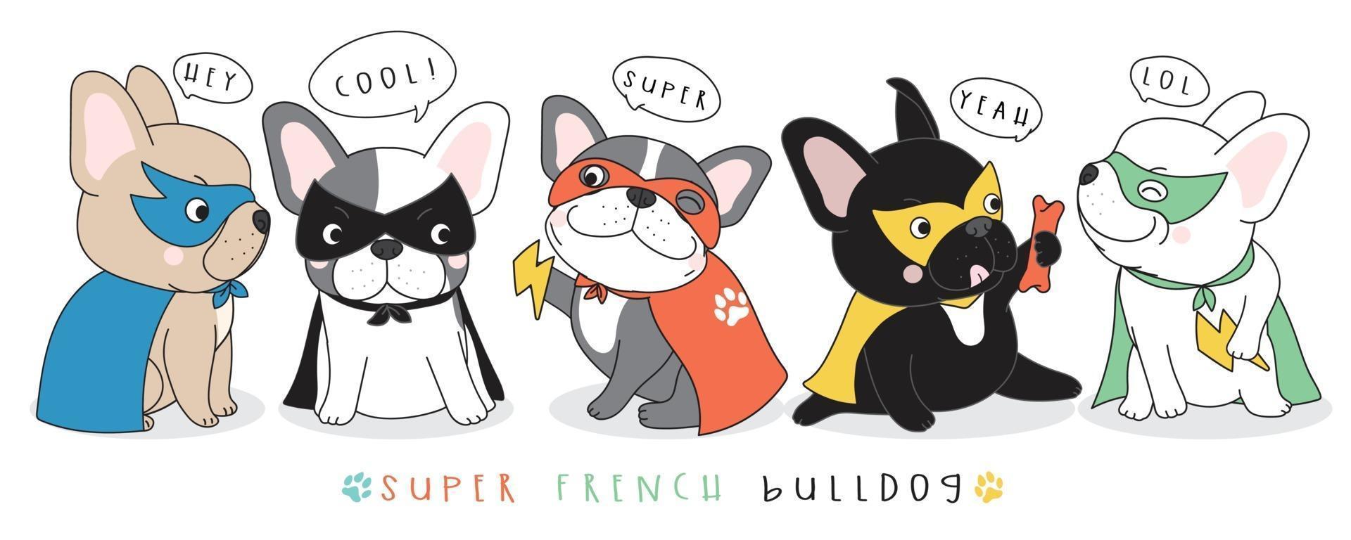 schattige doodle franse bulldog illustratie vector