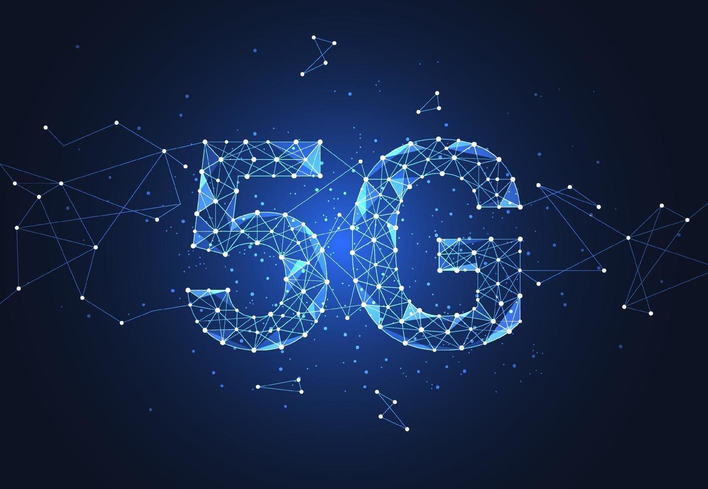 5g wereldwijde netwerkverbinding. polygoon verbindt punt en lijn in de vorm van een netwerkbedrijf. vector illustratie