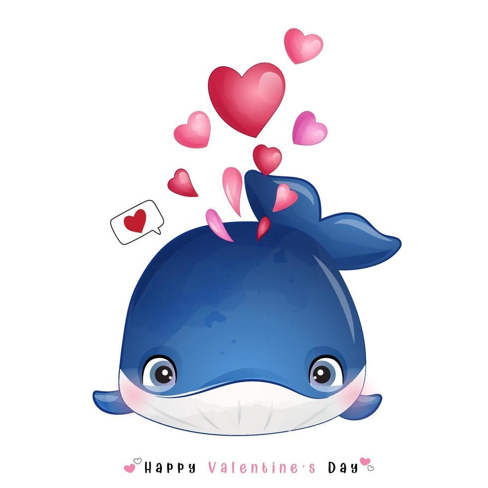 schattige doodle walvis voor Valentijnsdag vector