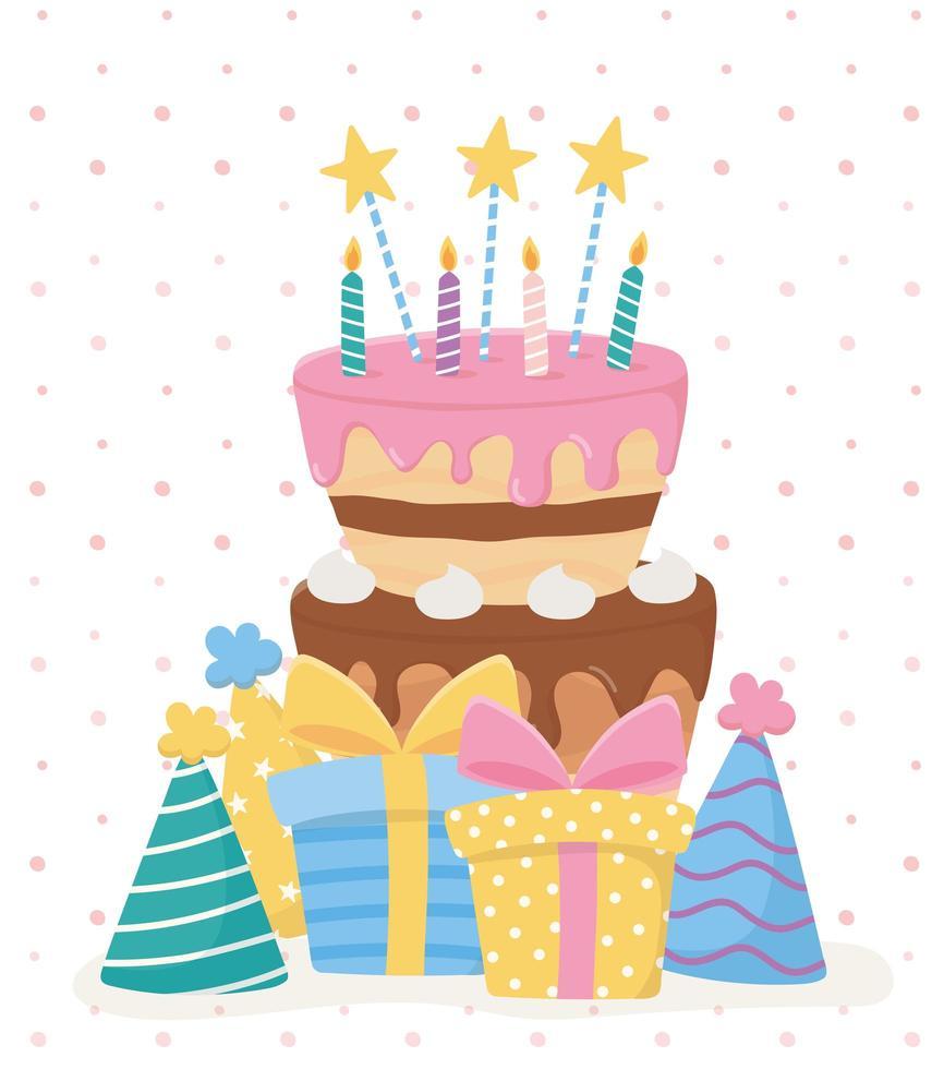 gelukkige verjaardag, cake kaarsen sterren geschenken hoeden feestviering vector