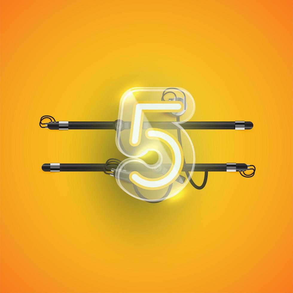 realistische neon '5' karakter met plastic omhulsel, vectorillustratie vector