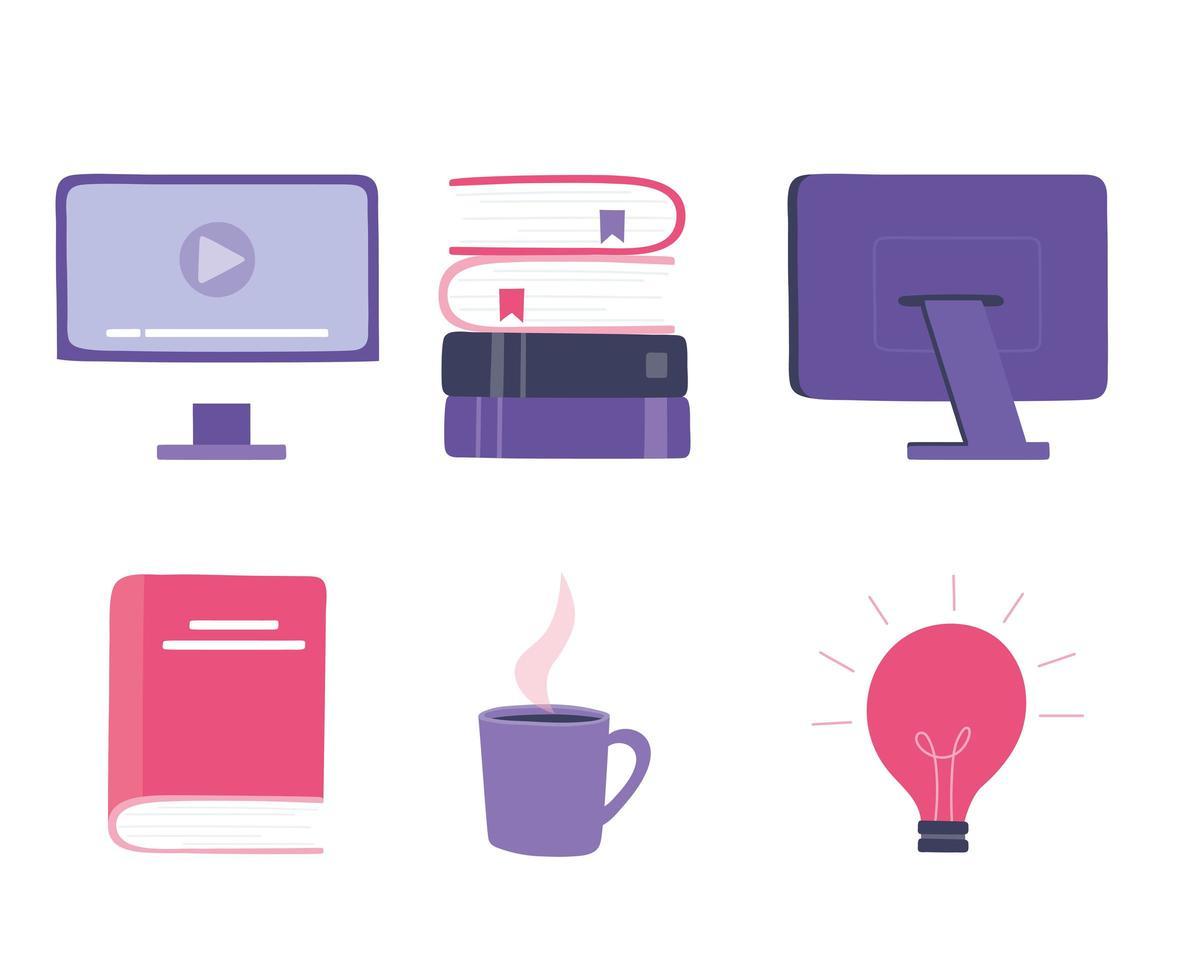 online opleiding pictogramserie vector