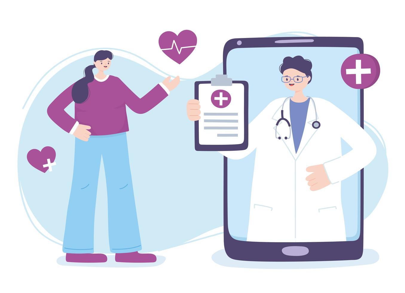telegeneeskunde concept met arts op de smartphone met patiënt vector