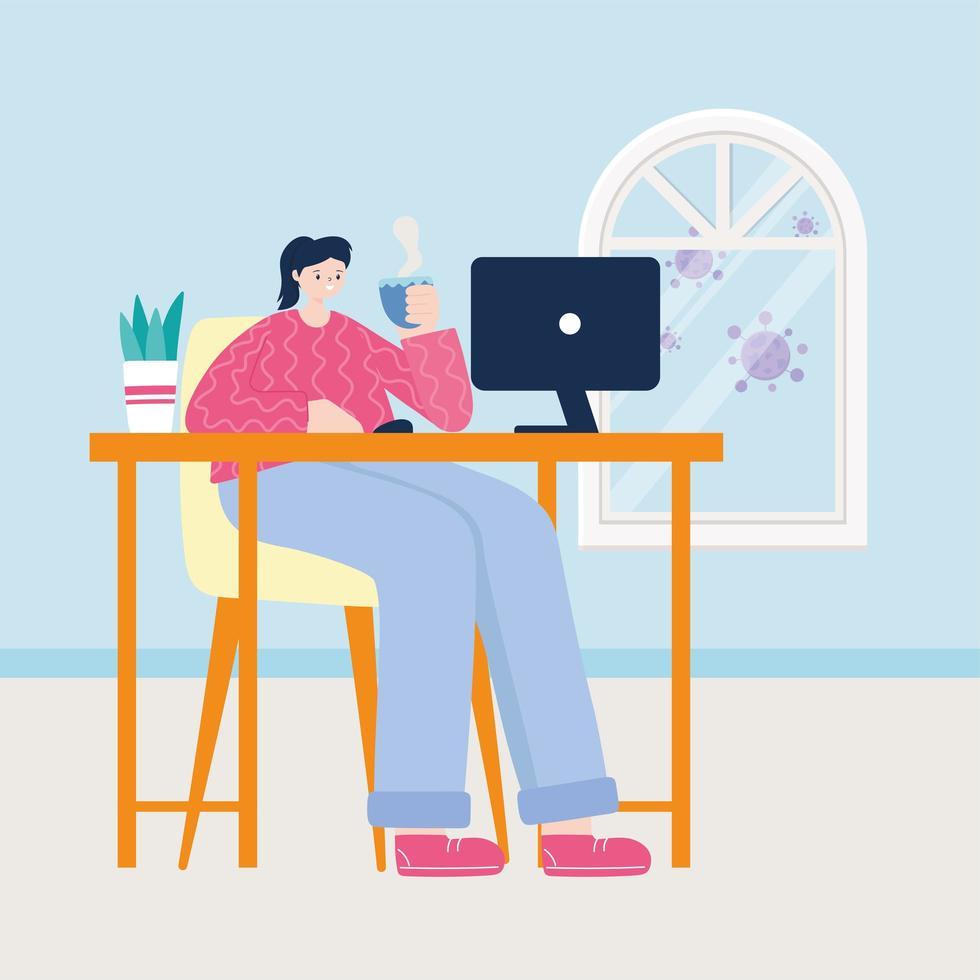 jonge vrouw die op de laptop thuis werkt vector