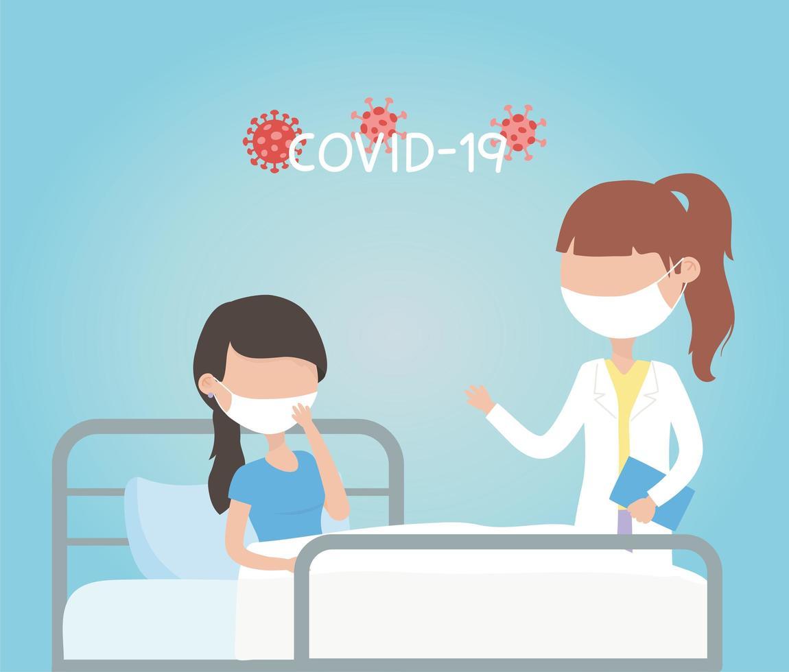 vrouw met gezichtsmasker in quarantaine voor coronavirus vector