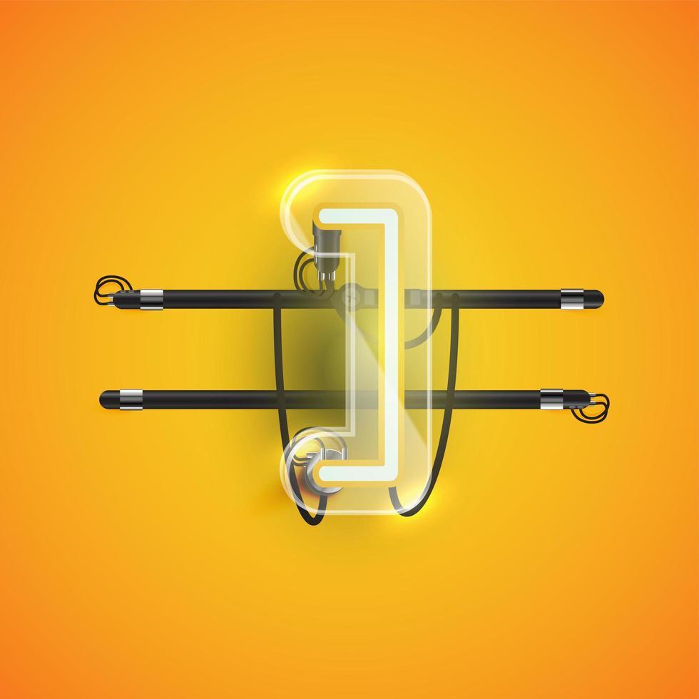 realistische neon 'beugel' karakter met plastic omhulsel, vectorillustratie vector