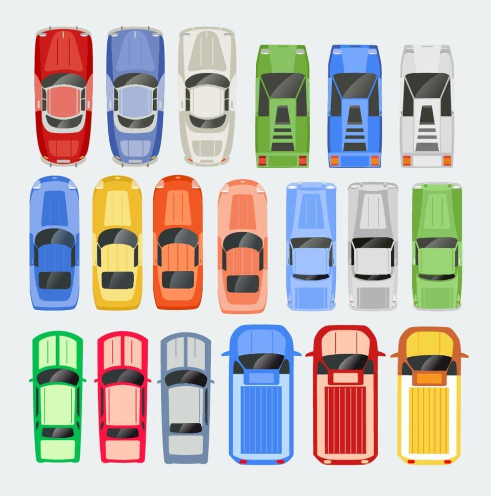 auto's vervoeren bovenaanzicht icon set geïsoleerde vector illustratie in vlakke stijl