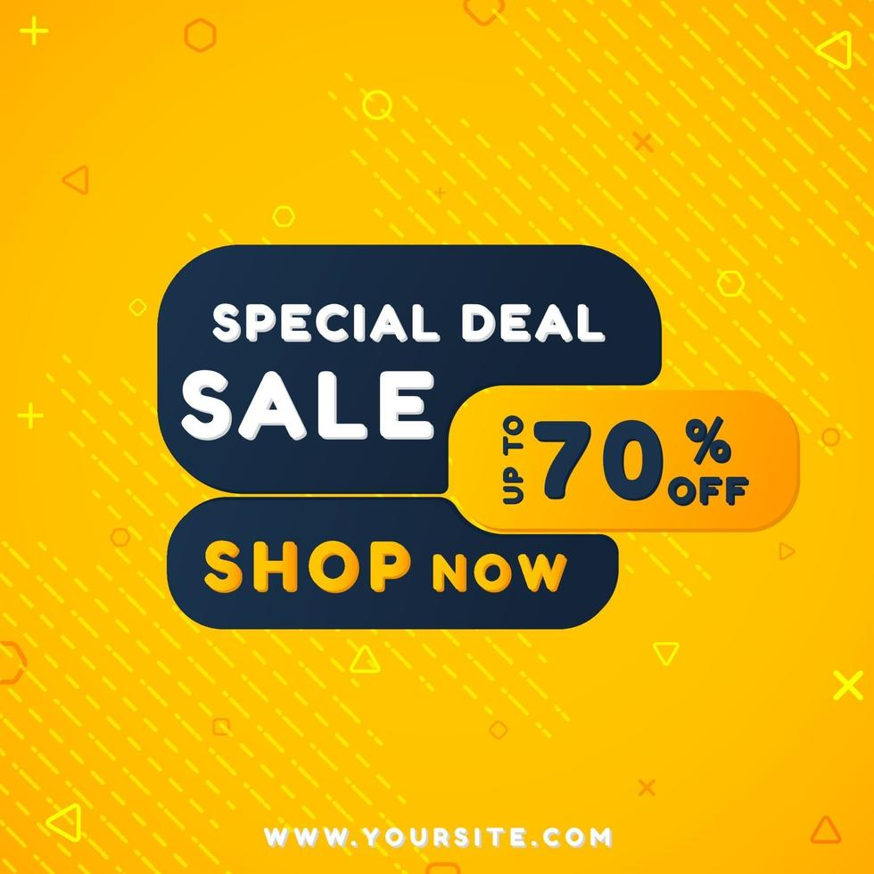 moderne verkoopbanner met geometrische vormen en gele kleur vector