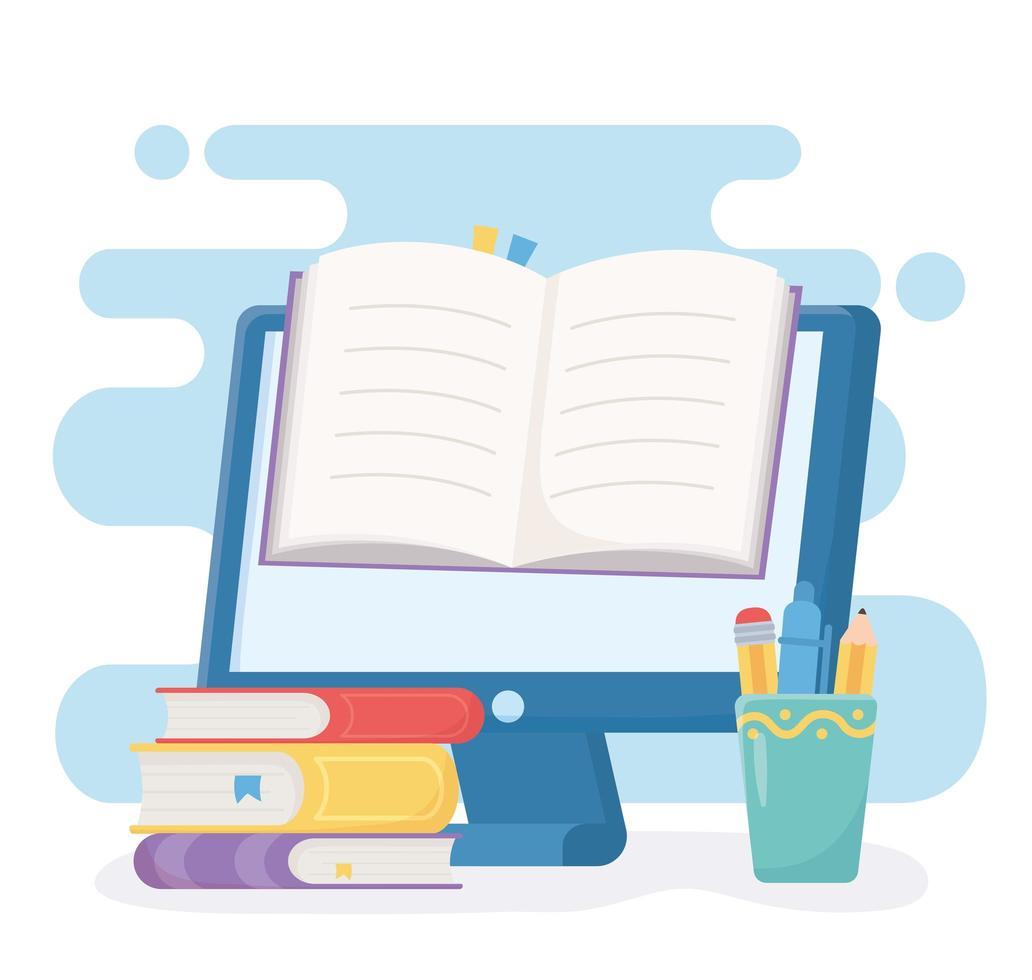 onderwijs online met computer en boek vector