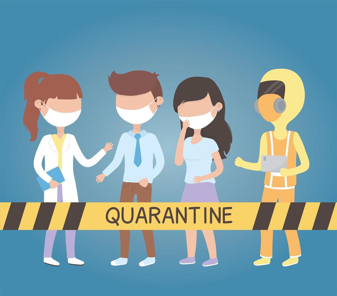mensen met gezichtsmaskers in quarantaine voor coronavirus vector