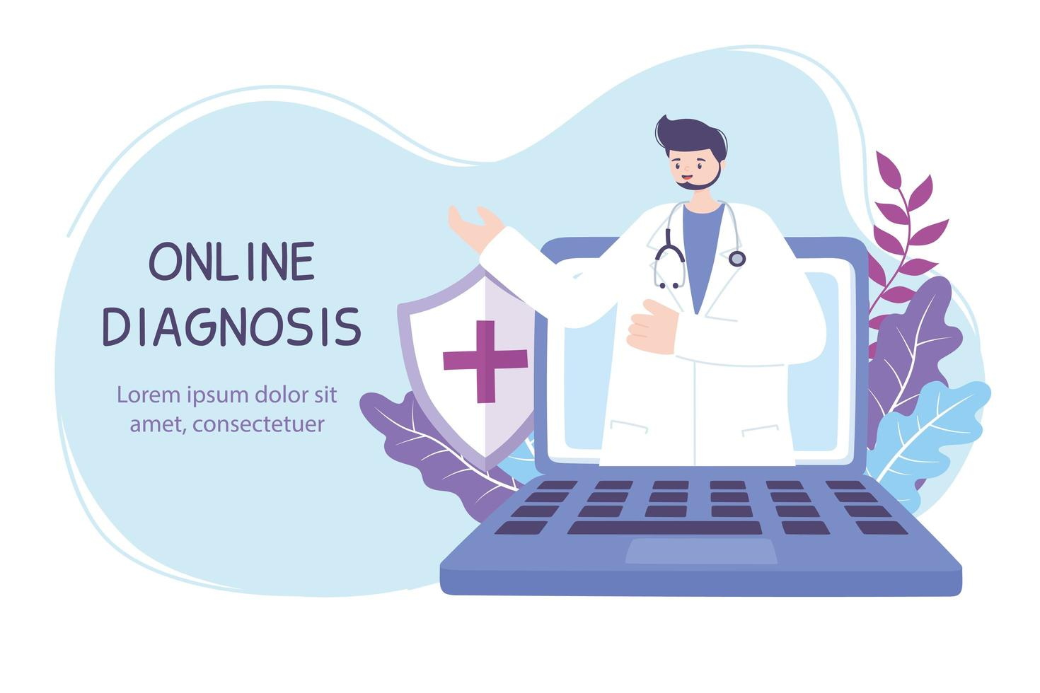 online diagnosebanner met arts en laptop vector