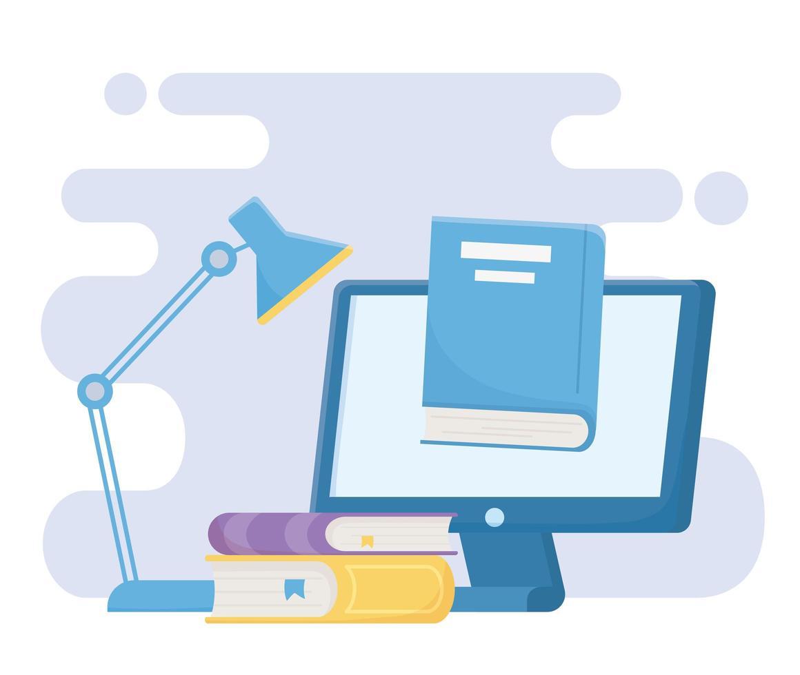 online onderwijs met computer en benodigdheden vector