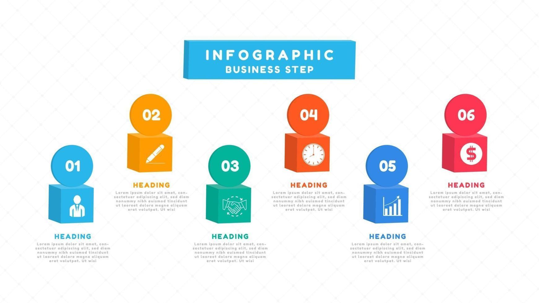 infographic met 3D-vakken met pictogrammen voor bedrijfsplanning vector
