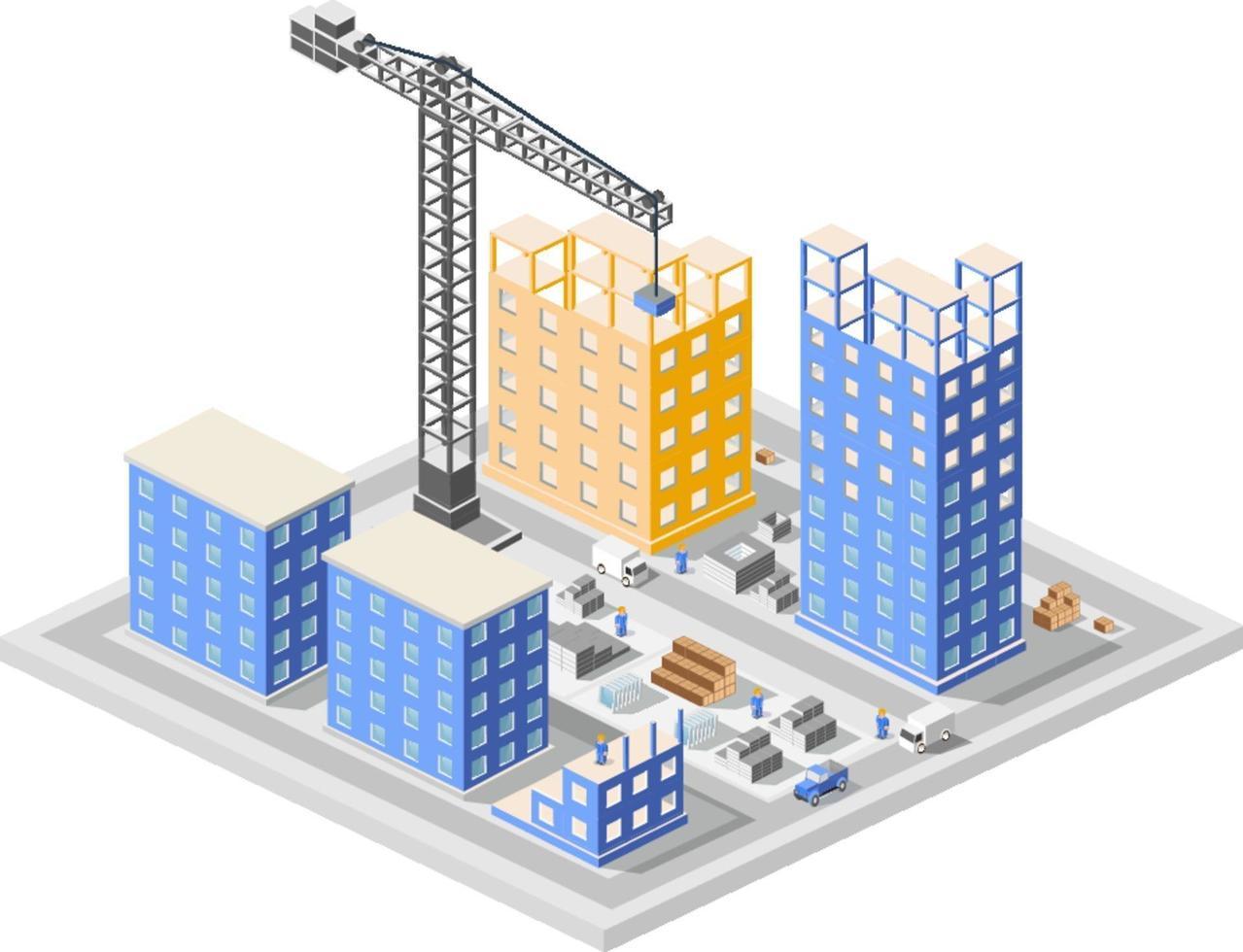 industriële constructie isometrie in de wolkenkrabbers van de grote stad in aanbouw, huizen en gebouwen vector