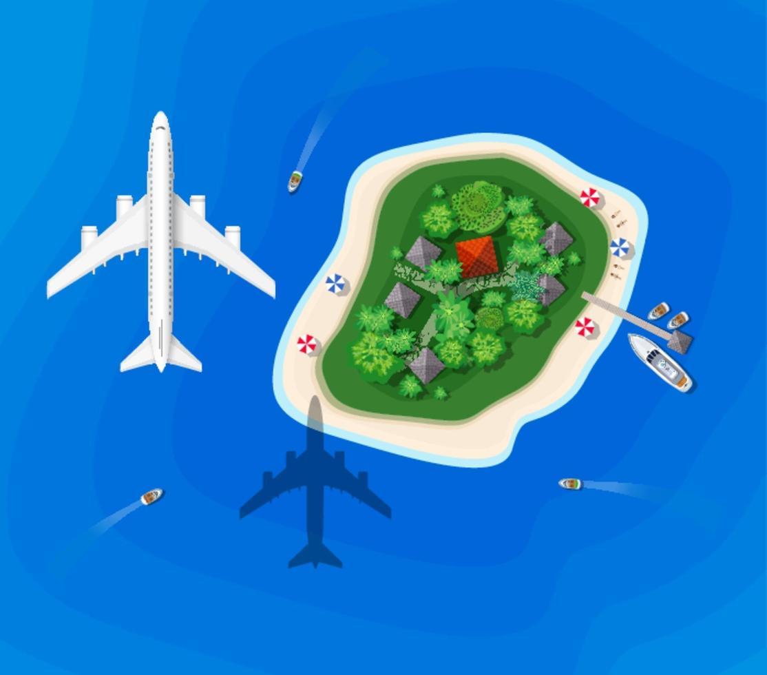 bovenaanzicht van een eiland tour het schip met een vliegend vliegtuig vector