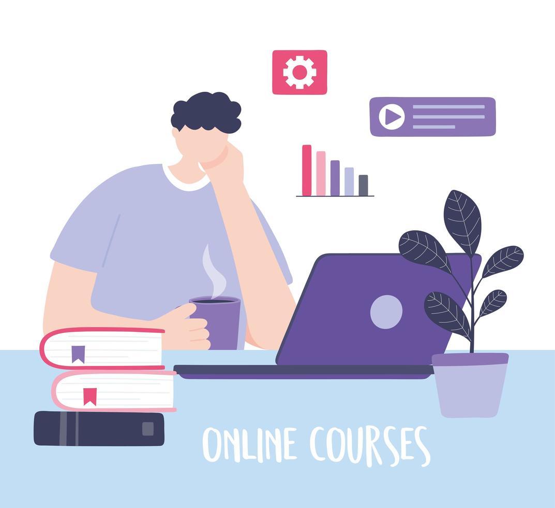 online training met man die naar een cursus kijkt vector