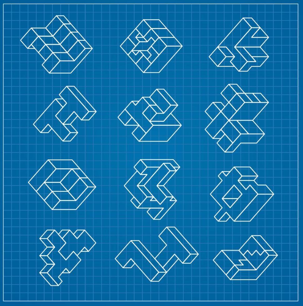 de abstracte driedimensionale kubus als een element van de ontwerpsjabloon blauwdruk vector