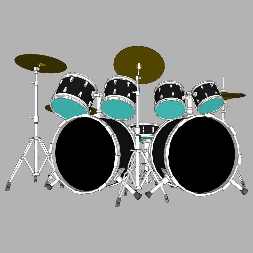 illustratie van een drumstel vector