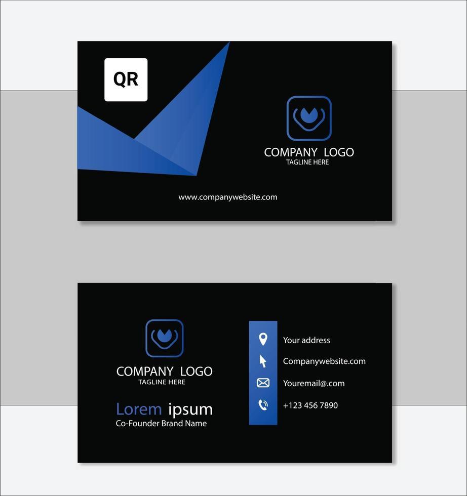 blauwe professionele sjabloon voor visitekaartjes vector