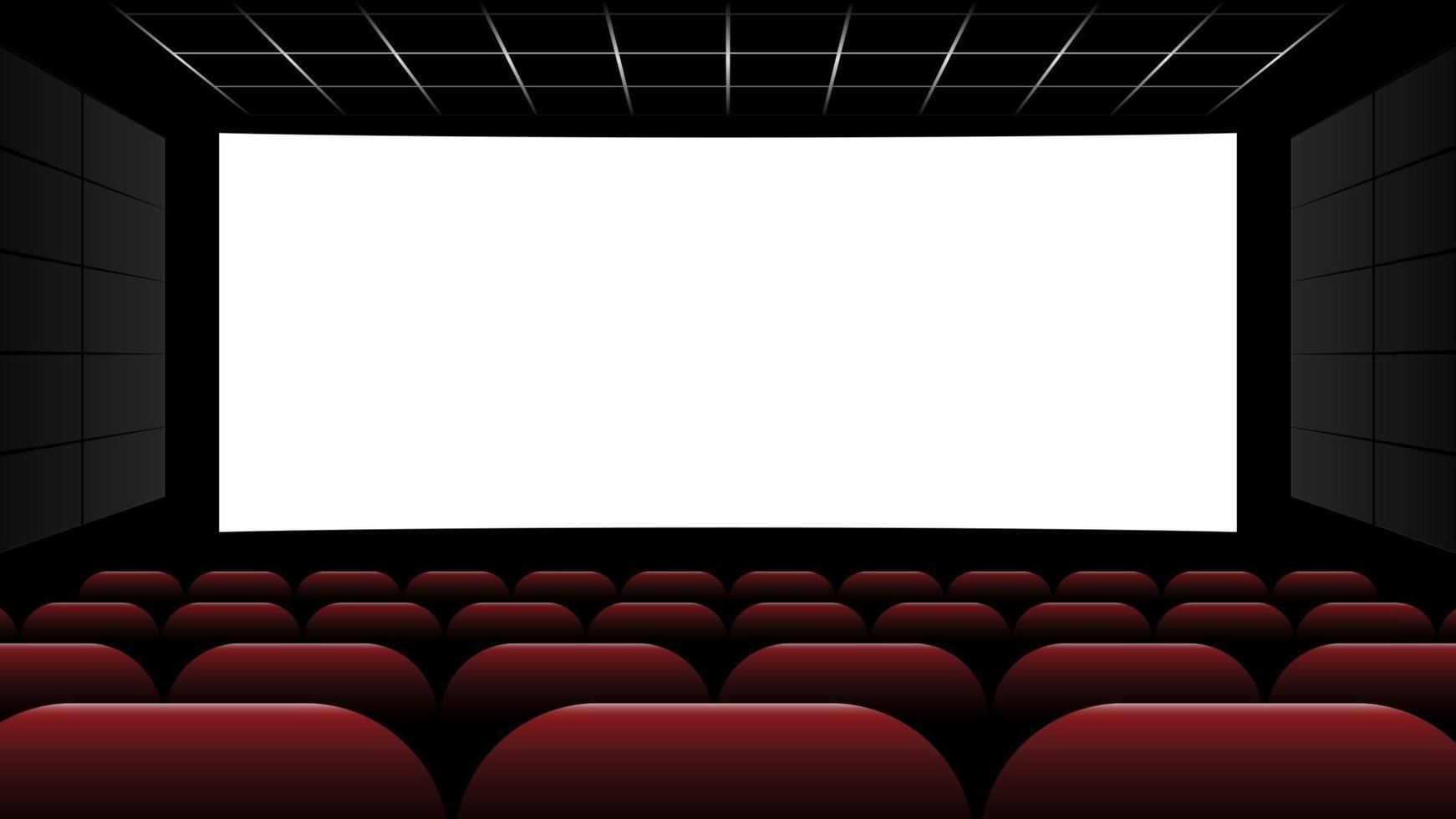 bioscoop bioscoop met leeg scherm en rode stoelen, vectorillustratie vector