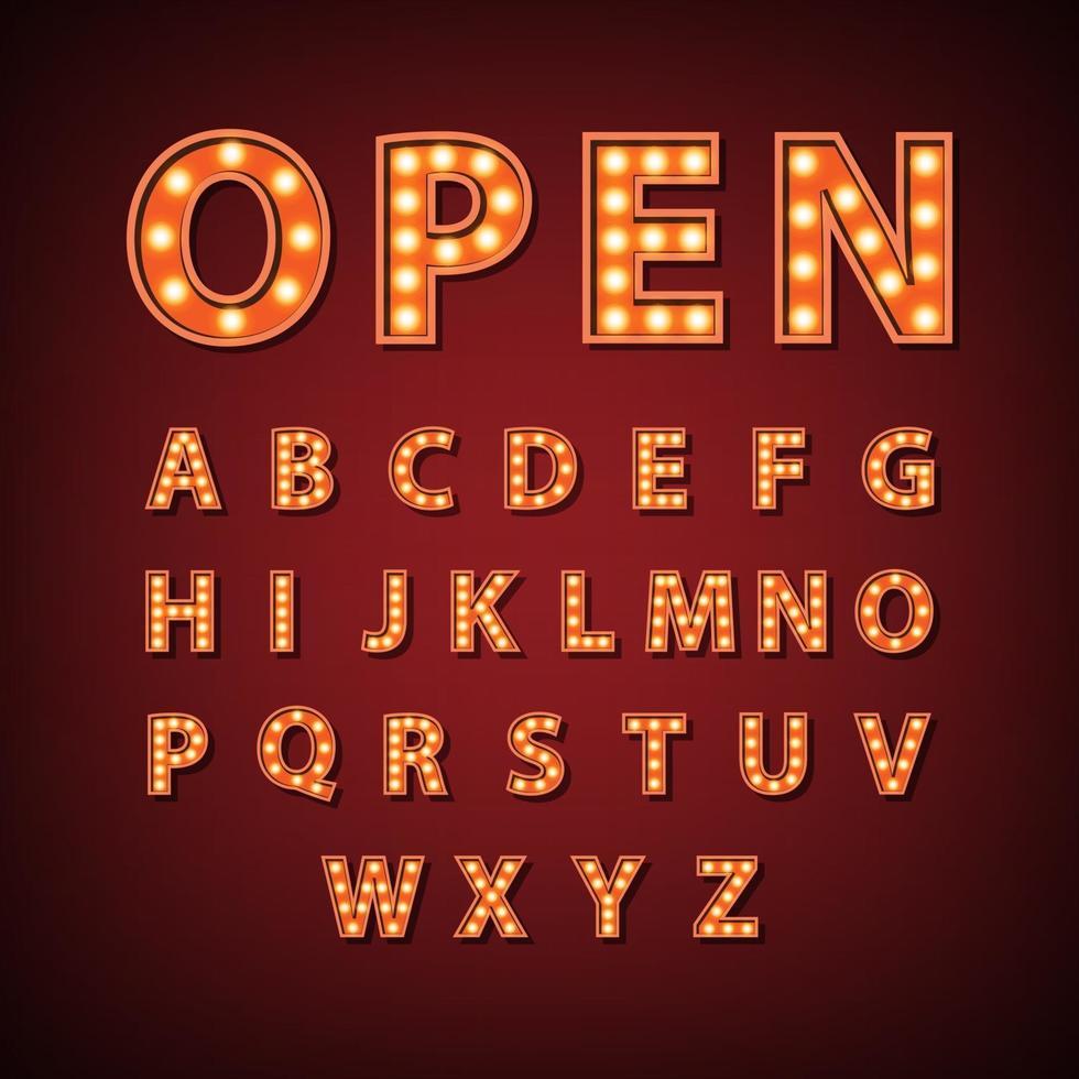 vintage lichtkrant lamp Engelse alfabet teken, vectorillustratie vector