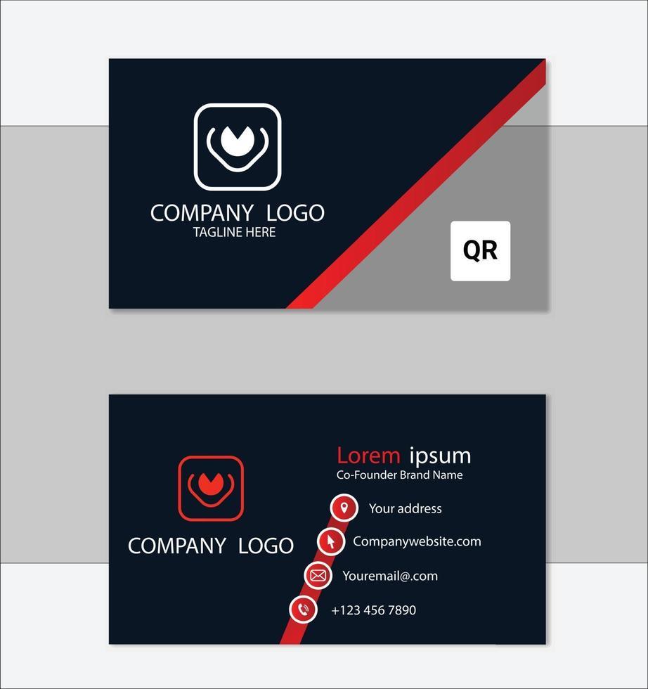 rode en zwarte geometrische visitekaartje ontwerpsjabloon vector