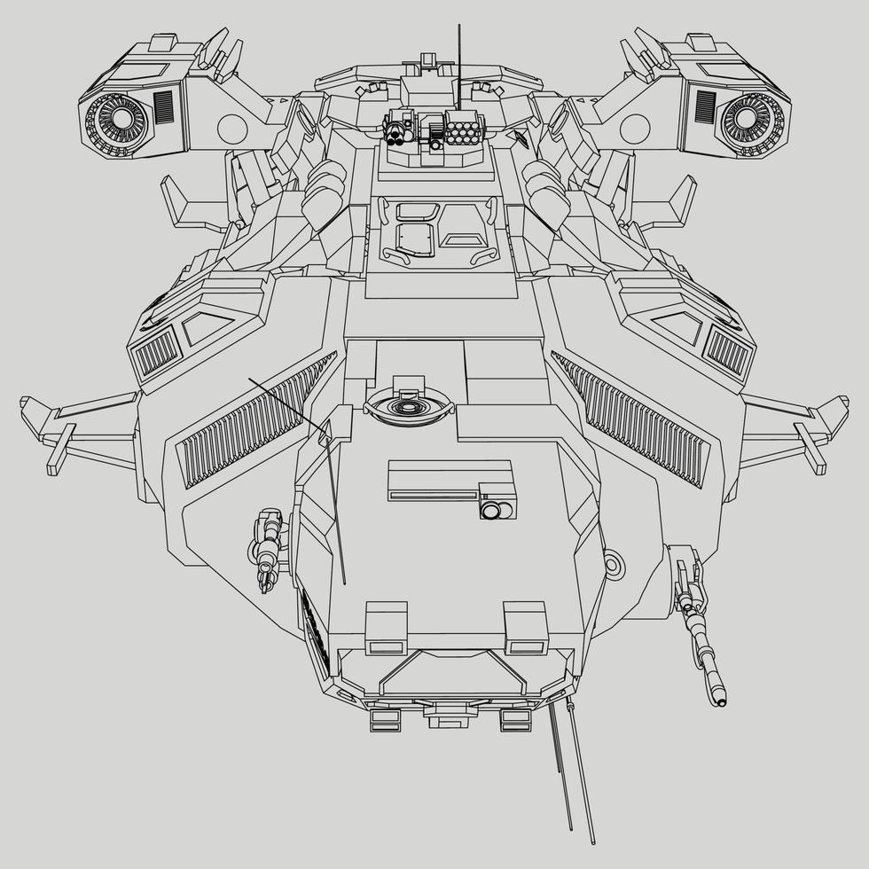 lineart van het ruimteschip vector