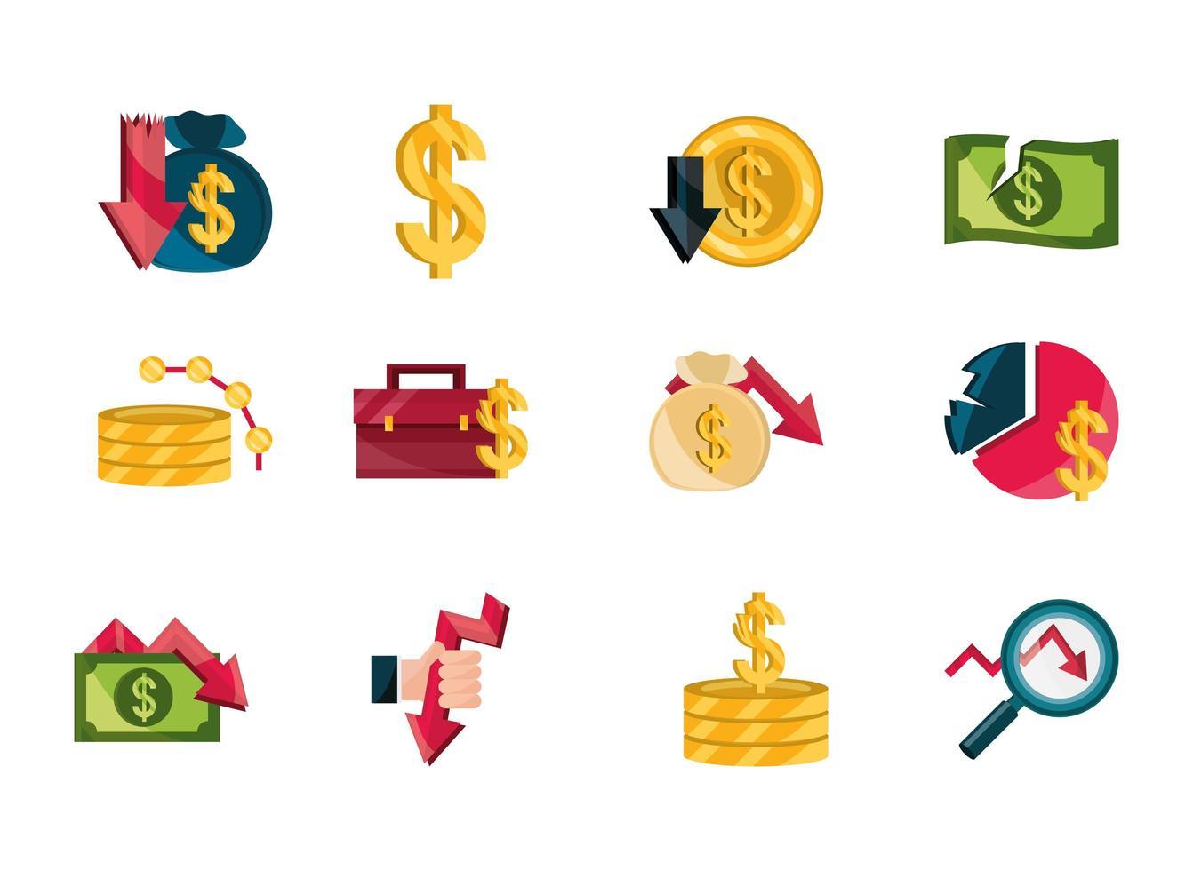 financiële bedrijfscrisis, beurscrash icon set vector