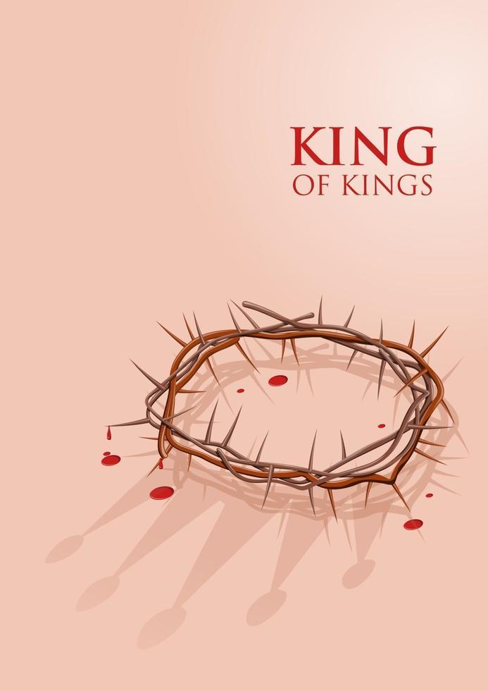 een doornenkroon met de schaduw van de ware kroon van Jezus vector