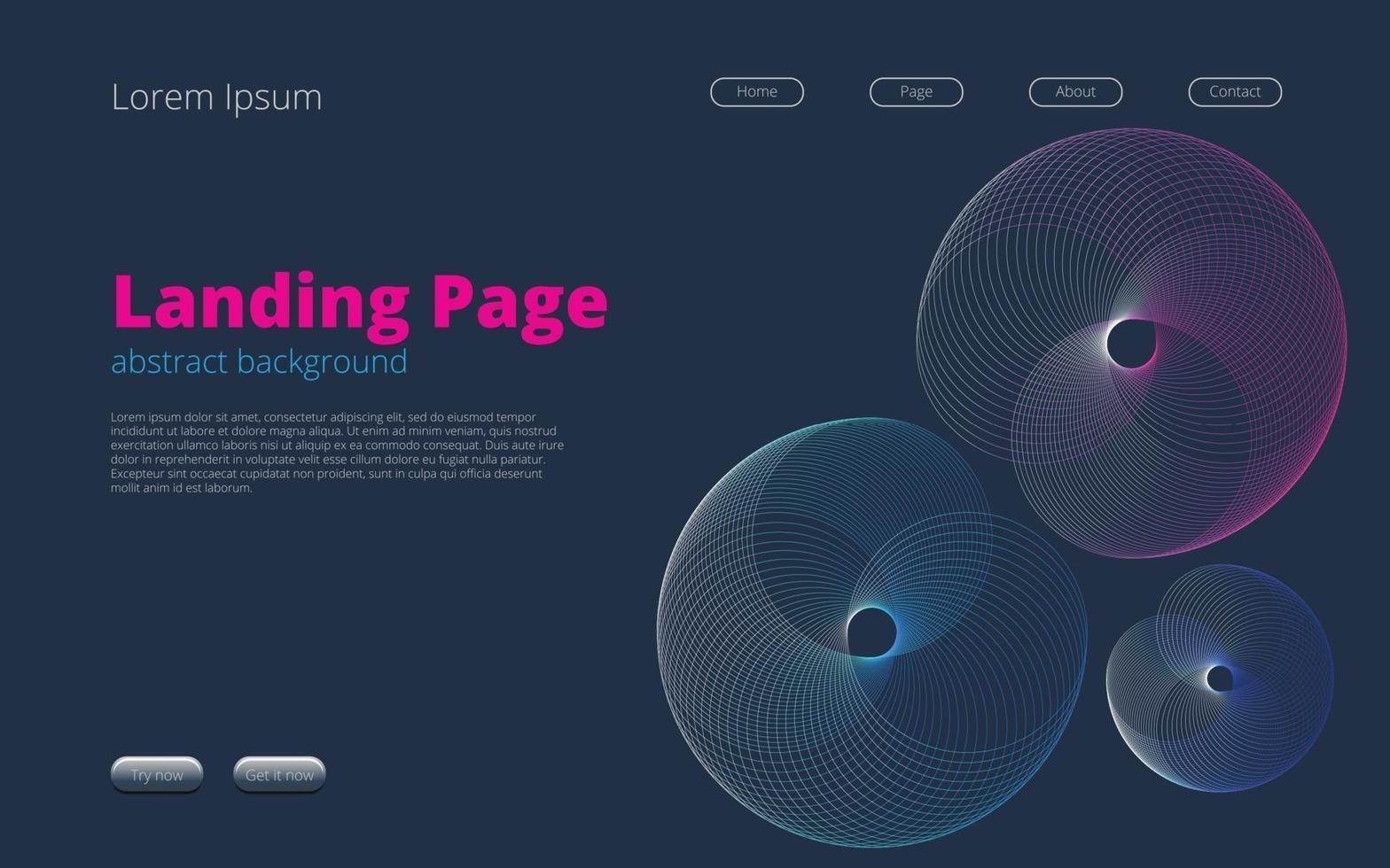 bestemmingspagina sjabloon voor webdesign met abstracte achtergrond vector