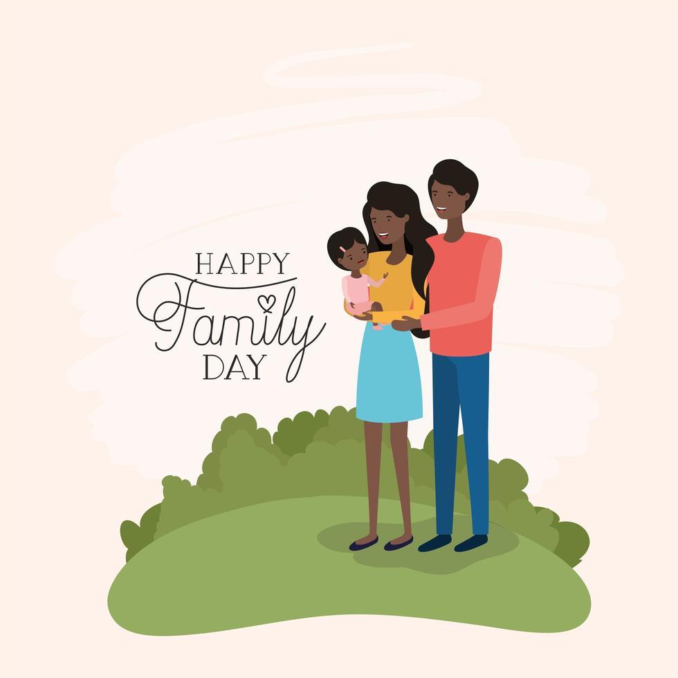 familiedagkaart met zwarte ouders en dochter in het veld vector