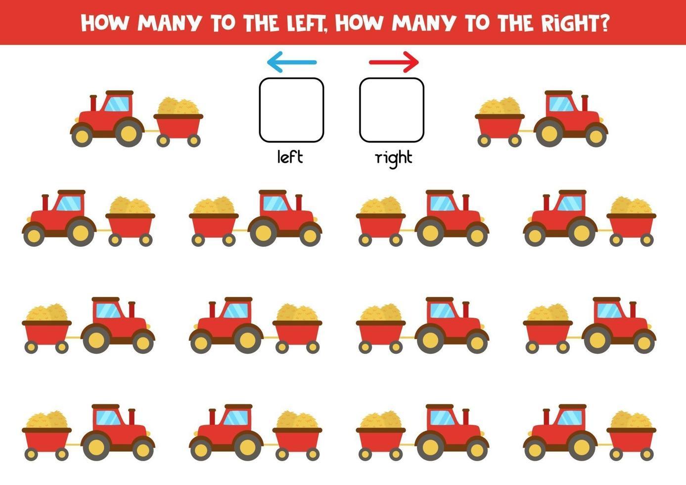 links of rechts met tractor en aanhanger. logisch werkblad voor kleuters. vector
